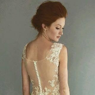 See-through lace back of wedding dress