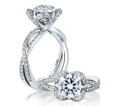 A.JAFFE Floral-inspired Designer Engagement Ring with Halo and Round Brilliant Center  Style #...