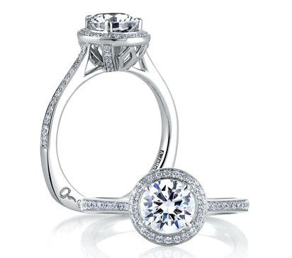 A.JAFFE Halo-Style Designer Engagement Ring with Round Brilliant Center  Style # MES332  Available...