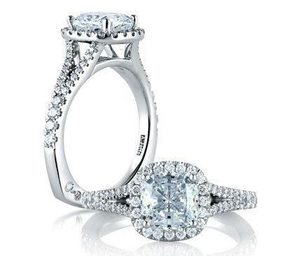 A.JAFFE Classic Designer Engagement Ring with a Cushion Shaped Halo and Cushion Cut Center  Style #...