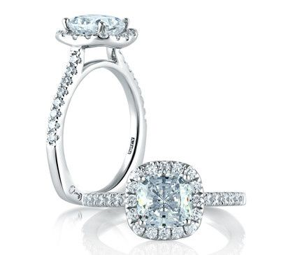 A.JAFFE Classic Halo-Style Designer Engagement Ring with Cushion Cut Center  Style # MES577...