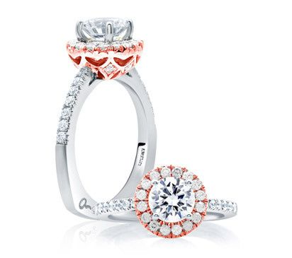 A.JAFFE Classic Designer Two-Tone Halo-Style Engagement Ring with Round Brilliant Center  Style #...