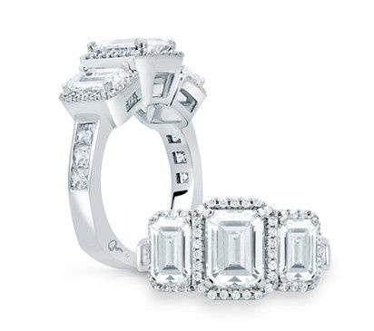 A.JAFFE Classic Designer Three-Stone Halo Engagement Ring with Emerald Cut Diamonds  Style # MES694...