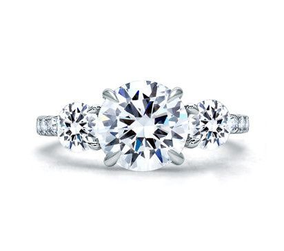 A.JAFFE Three-Stone Designer Engagement Ring with Round Brilliant Cut Diamonds  Style # ME1854Q...