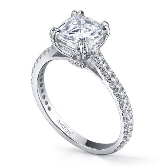 Vatche Designer Pave Engagement Ring with Asscher Cut Center  Style # 1005  Available in Platinum or...