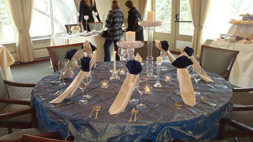 cobalt blue and ivory with warm candlelight