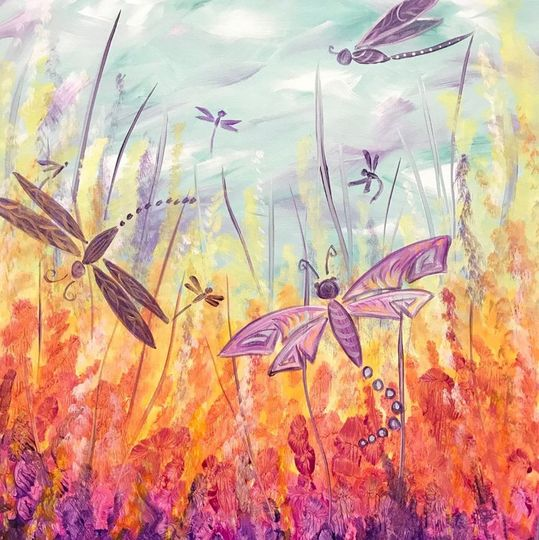 Island Art Party - dragonfly paining