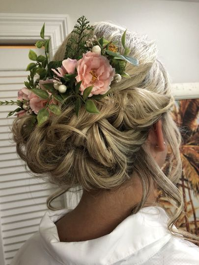 Updo with flower details
