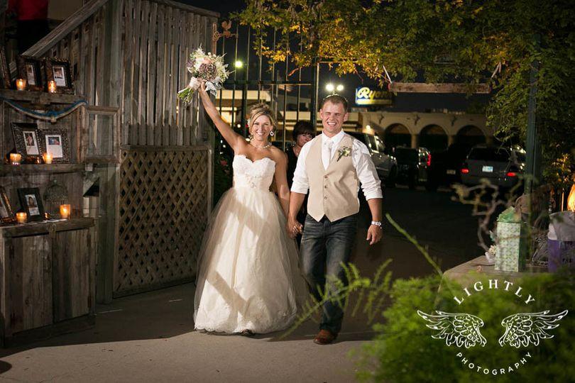 Bride raising hand