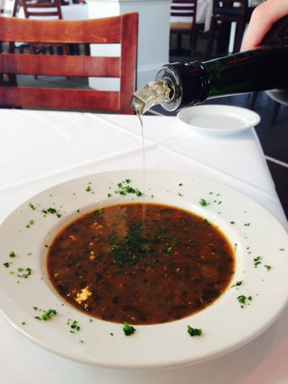 Turtle soup topped with sherry
