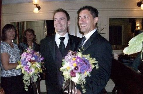 Grooms and their bouquets