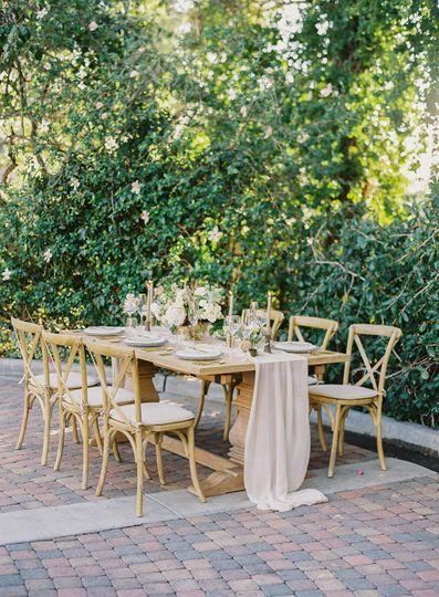 Farm table & vineyard chairs