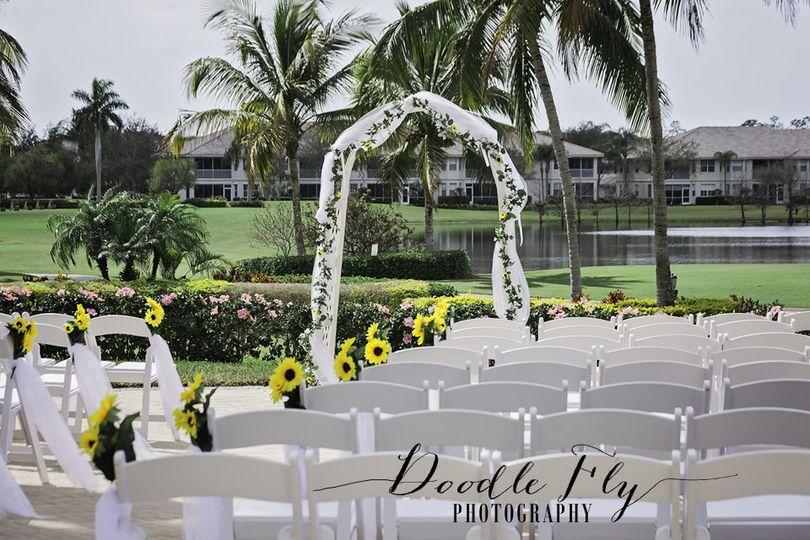 Outdoor wedding ceremony setting