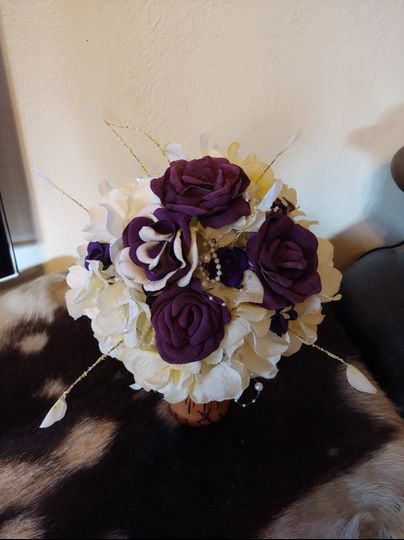 Leather Roses in bouquet
