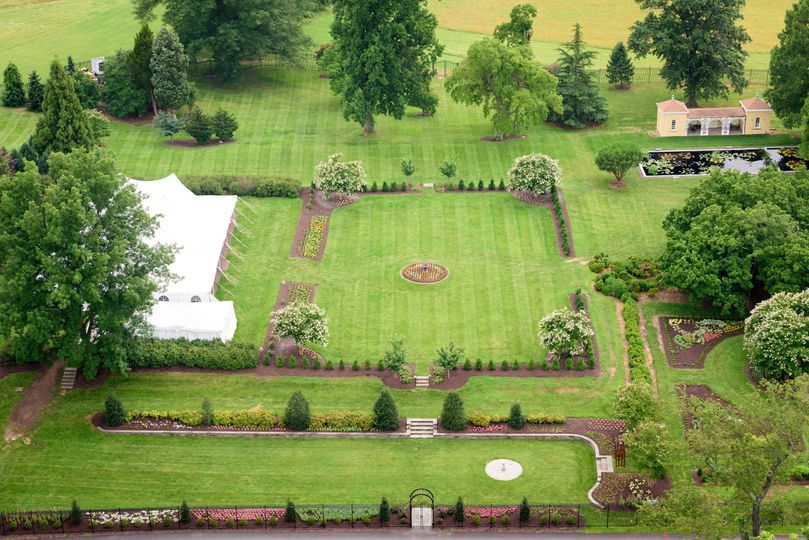 Aerial view of gardens