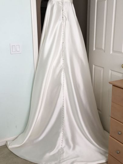 Long Wedding Gown after cleaning but before putting into the box-bottom half view.