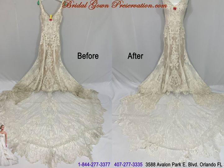 Tmx 69989 Taylor Morales Wedding Gown Cleaning Beforeafter 01 2021 51 1004903 161223384770765 Orlando, FL wedding dress