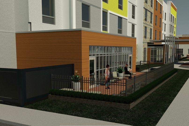 Pool patio rendering - wide view