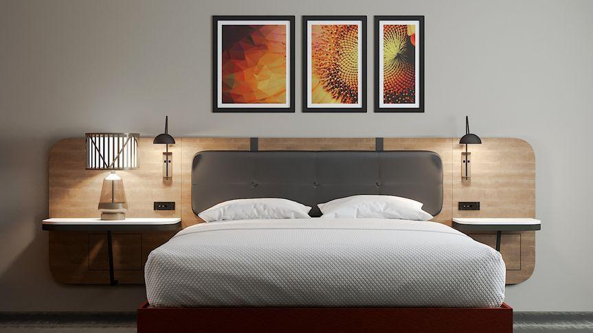 King room rendering - bed