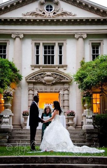 Wedding outside the mansion