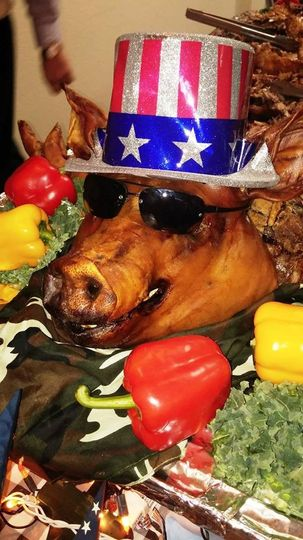 Pig roast with a patriotic flair