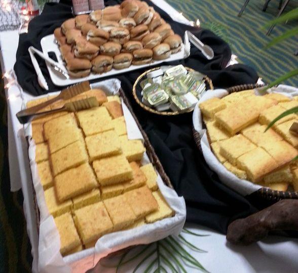 Southern sweet cake like cornbread & BBQ sliders