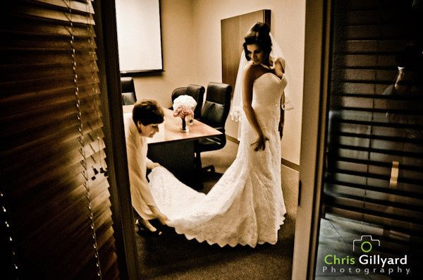 A peak in on the bride as shes gets ready .