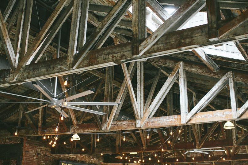 Original wooden rafters, re-exposed and restored.