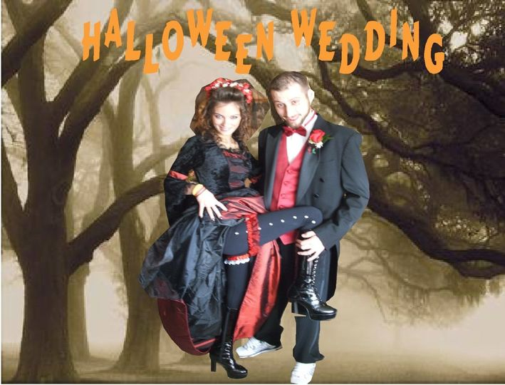 Creative Background drop for this couple Halloween Wedding
