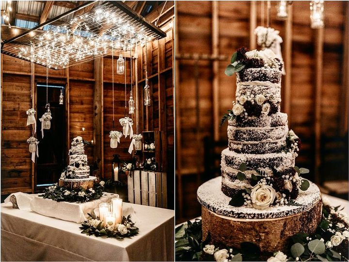 Cake table set up in the barn