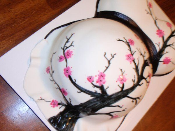 Pregnant Belly cake with hand painted Cherry Blossom Design!