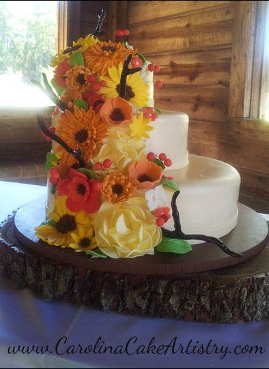 fall flower wedding cake 2012