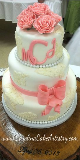 lace print with pink rose wedding cake 2013