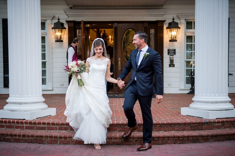Newlyweds at main entrance