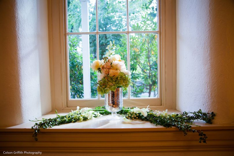 window with floral