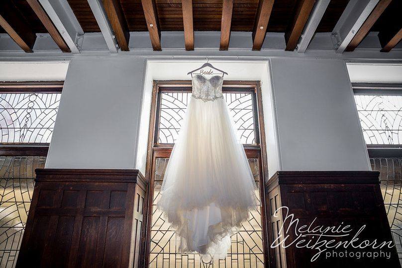 An amazing gown displayed on one of the sets of beautiful stairways