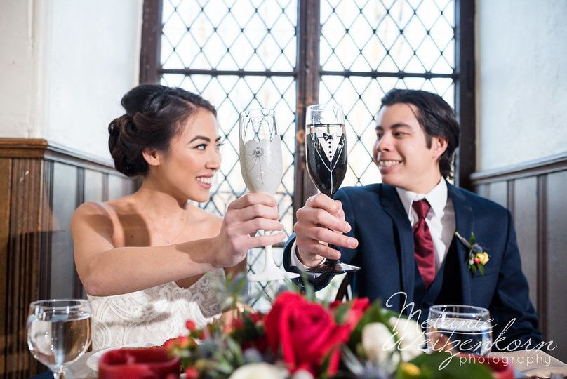 A toast to Glasses by Joanne on Etsy for the beautiful Bride & Groom champagne flutes