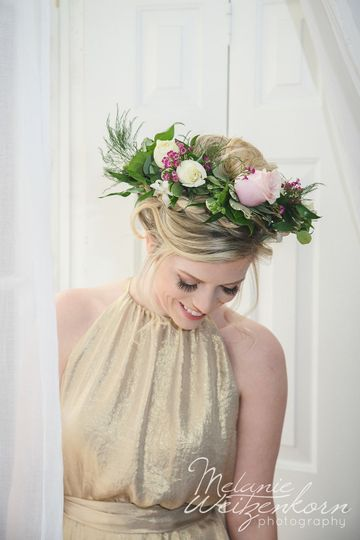 Stunning bridesmaid with floral halo by elegant lotus florst.