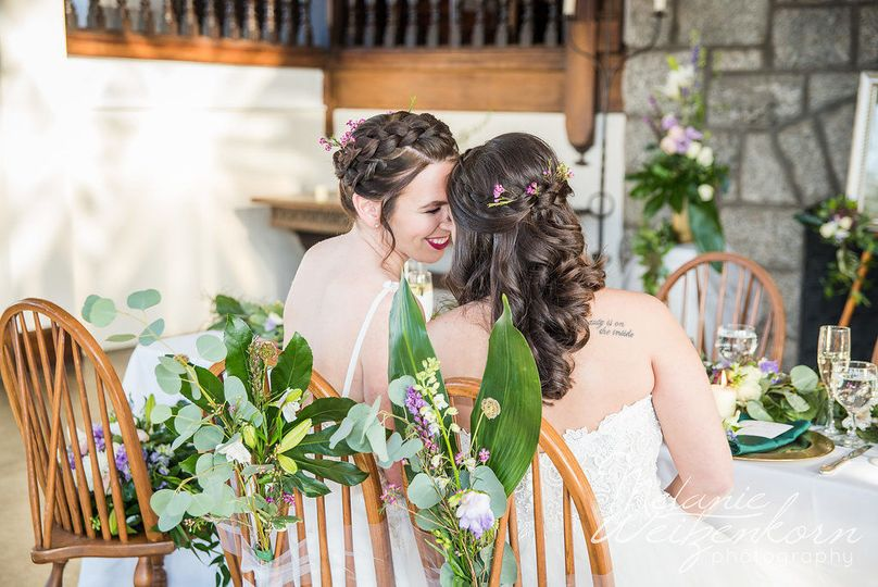 A quiet moment for the beautiful brides