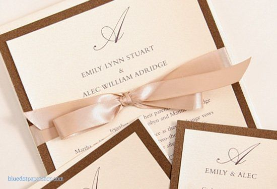 This wedding invitation exudes sophistication and elegance. Layered Bronze and Opal metallic...