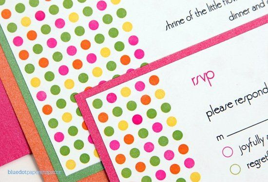 Our whimsical wedding invite is perfect for more casual affairs. A polka-dot theme matched with our...