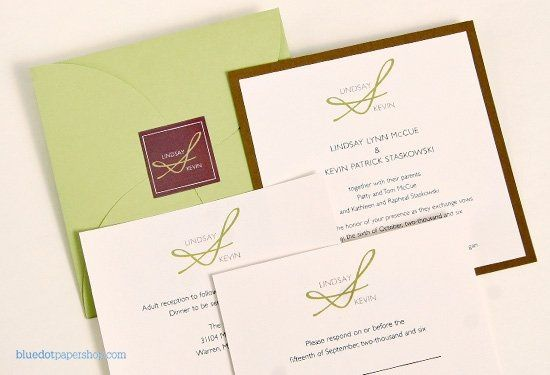 Fresh colors and a unique monogram bring all the elements of this wedding invitation together. Our...