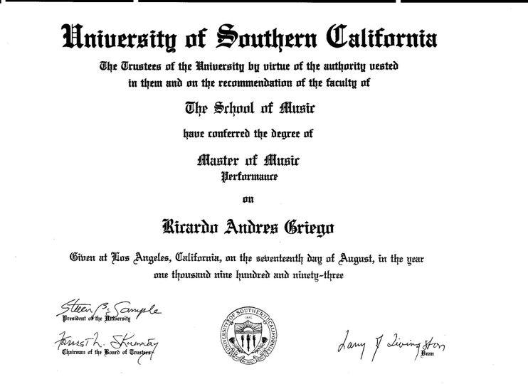 U.S.C. Degree