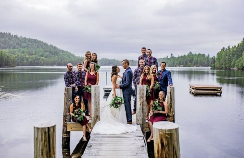 Bridal party by the pond