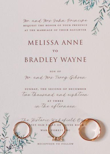 Wedding bands and card | Lindsey Cash Photography