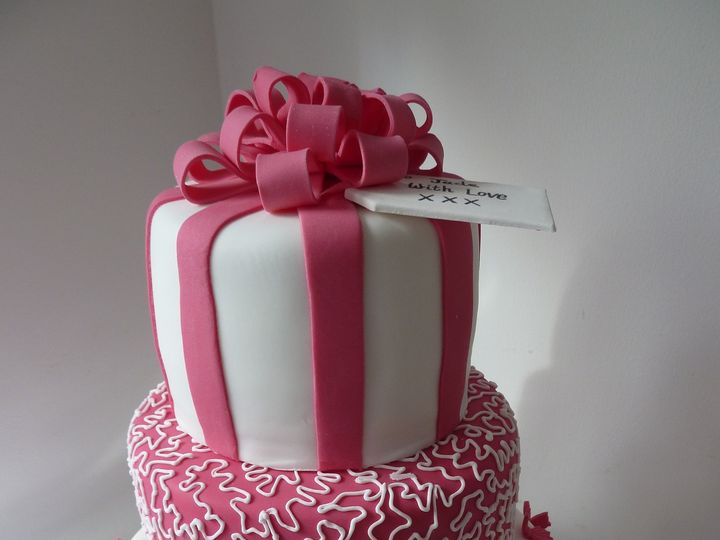 Tmx 1417478751771 Three Tier Pink And White Birthday Cake Saint Cloud wedding cake