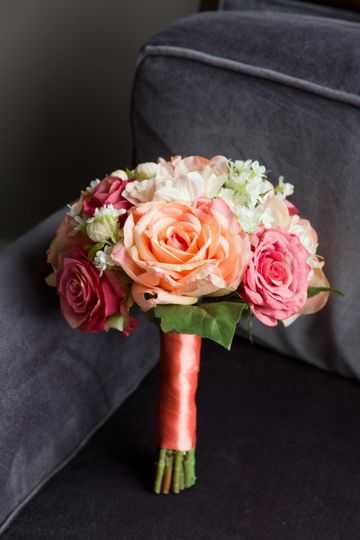 kelly coral wedding bouquet