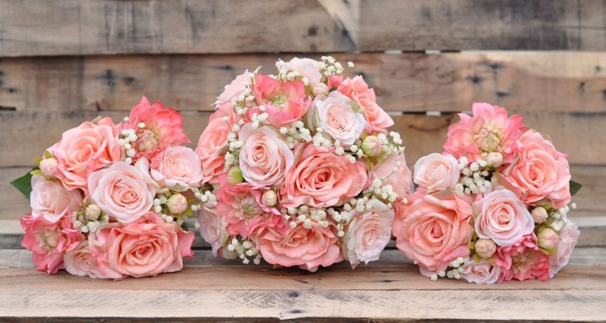 coral peach baby breath bouquet set 1