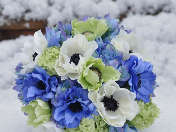 Tmx 1454788254407 Lime Green Blue And Ivory Anemone Bouquet   1 Wayne wedding florist