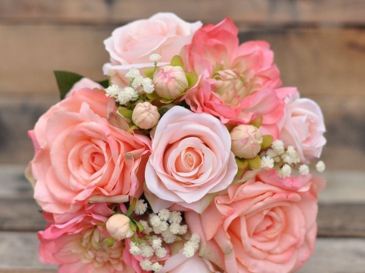 Tmx 1454788357307 Small Coral Peach Baby Breath Bouquet   1 Wayne wedding florist